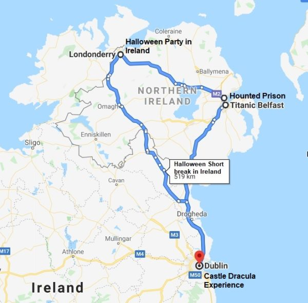 3 day halloween tour in Ireland with halloween party -map of the itinerary